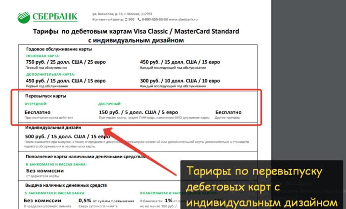 Стоимость перевыпуска карты Сбербанка