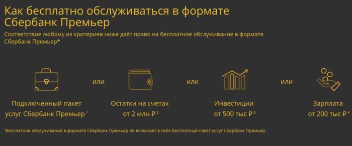 Условия бесплатного обслуживания в формате Сбербанк Премьер