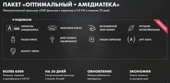 """Okko - пакет """"Оптимальный + Амедиатека"""""""